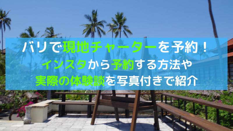 バリ島で個人現地チャーターを予約、うまく活用する方法をご紹介!【超絶お得・安心・大満足】