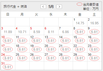 5月の料金